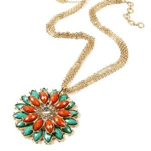 Amrita Singh NWT Aqua/Orange Crystal Necklace